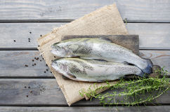 Two rainbow trouts on rustic wooden table Royalty Free Stock Images