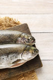 Two rainbow trouts on rustic wooden table. Healthy food stock image