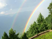Two Rainbows. 1st time I've seen such beautiful & clear rainbow Royalty Free Stock Photos