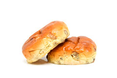 Two raising bread: krentenbol Royalty Free Stock Photo
