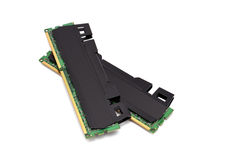 Two  RAM. Two strips of RAM on a white background Stock Photos