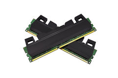 Two  RAM. Two strips of RAM on a white background Stock Photo