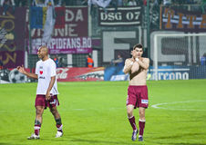Two Rapid Bucharest Players Celebrating Victory Stock Photography