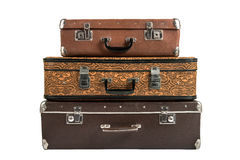 Two rarity brown leather suitcase, isolated Royalty Free Stock Photo
