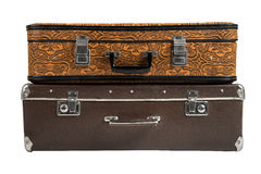 Two rarity brown leather suitcase, isolated Stock Images