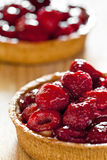 Two Raspberry Pies. Photograph of two freshly made raspberry pies Stock Photo
