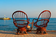 Two rattan chairs Stock Image