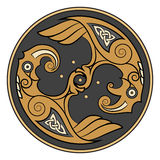 Two Ravens Of The God Odin In Scandinavian Style. Huginn and Muninn Stock Images
