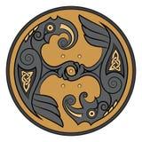 Two Ravens Of The God Odin In Scandinavian Style. Huginn and Muninn Stock Photos