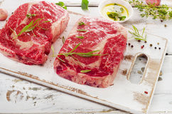 Two Raw Beef Steaks Royalty Free Stock Photography