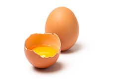 Two brown eggs  on white background Royalty Free Stock Image