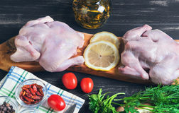 Two raw chicken carcasses. Cherry tomatoes, dill, parsley, pepper, salt crystal, cutting board, bottle of olive oil on a wooden background in rustic style Stock Photography