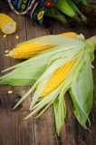 Two raw corn with bag of corn and piece on dark wood table, clos Royalty Free Stock Photography