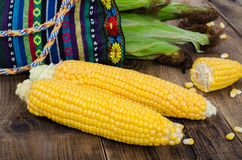 Two raw corn without leaves and small piece on dark wood table, Stock Photos