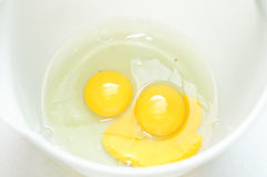 Two raw eggs. In a plastic bowl Stock Images