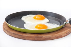 Two raw eggs in a frying pan Royalty Free Stock Images