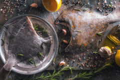 Two raw flounders with different seasoning on the stone background top view Stock Images