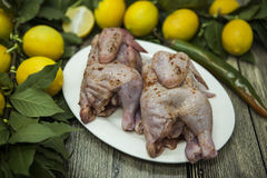 Two raw fresh chicken on porcelain plate with lemon and chilli  on the wooden background Stock Photo