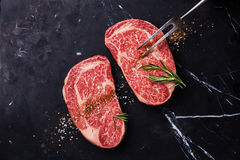 Two Raw fresh marbled meat Steak Ribeye Stock Photography