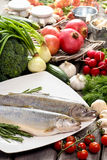 Two raw, fresh rainbow trouts Stock Photography