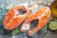 Two raw fresh salmon or trout steaks on ice, rich in omega-3 oil, with lime, thyme and olive oil on a blue rusty. Background. Healthy and dietary food. Top view stock photos