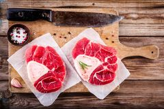 Two raw fresh veal shank meat for ossobuco Stock Photography