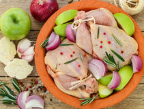 Two raw organic chicken with green apples, red onion and rosemary Stock Photography
