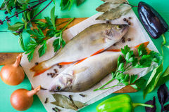 Two raw perch on rustic cutting board with fresh herbs, vegetables and spices on green wooden table. Top view Stock Images