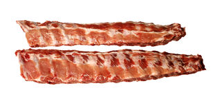 Two raw pork spare ribs Stock Photos