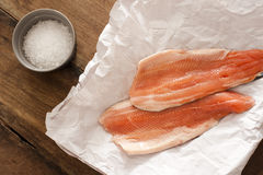 Two raw rainbow trout fillets Stock Image