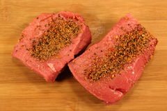 Two Raw Rump Steaks Stock Photography