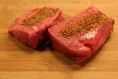 Two Raw Rump Steaks Royalty Free Stock Photos
