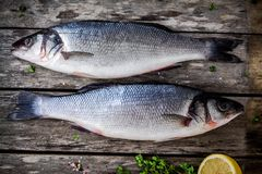 Two raw seabass with fresh thyme and lemon on wooden table Stock Image