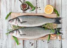 Two raw seabass with spices Stock Image
