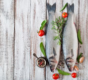 Two raw seabass with spices Royalty Free Stock Image
