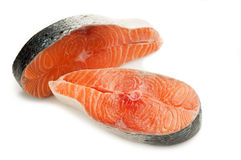 Two Raw sliced salmon Stock Photography