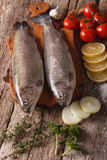 Two raw trout with ingredients on a cutting board. vertical top Stock Photography