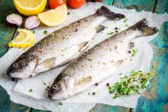 Two raw trouts on paper with thyme, peppers and lemon Royalty Free Stock Photo