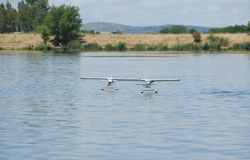 Two RC Hydroplane on water Stock Photo