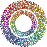 Two rcircles of multicolored rainbow butterflies Royalty Free Stock Photo