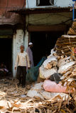 Two re-cycling workers of the Dharavi Slums in Mumbai India Stock Photography