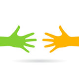 Two reaching hands vector icon Stock Photos
