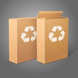 Two realistic blank craft paper packages for Royalty Free Stock Photos