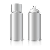 Two realistic, blank vector aerosol spray metal 3D. Two realistic,  on white background with reflection, blank vector aerosol spray metal 3D bottle cans - opened Stock Photo