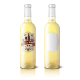 Two realistic bottles for white wine with labels Stock Photography