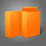 Two realistic bright orange blank paper packages. For cornflakes, muesli, cereals etc. Isolated on grey background for design and branding. Vector illustration Royalty Free Stock Photo