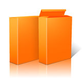 Two realistic bright orange blank paper packages Stock Images