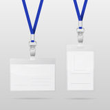 Two realistic horizontal and vertical plastic ID cards with blue lanyards Stock Images