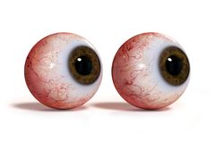 Two realistic human eyes with brown iris, isolated on white background 3d render. Googly eye balls isolated on white ground with shadows Royalty Free Stock Photography