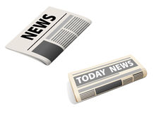 Two newspaper icons. Two realistic newspaper icons isolated on white background Stock Photos